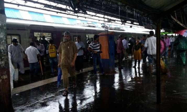A view of wet platform at the Dadar Terminus railway