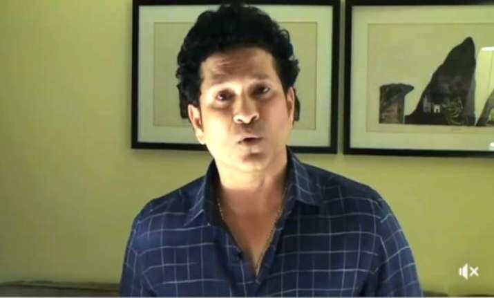 Sachin Tendulkar speaks during the video