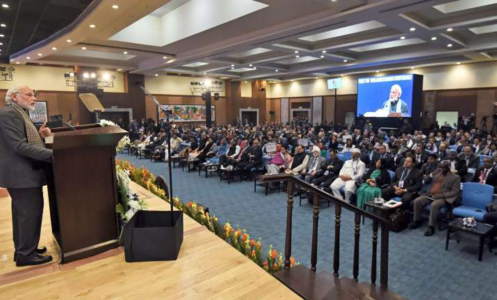 Prime Minister Narendra Modi addressing the 1st PIO