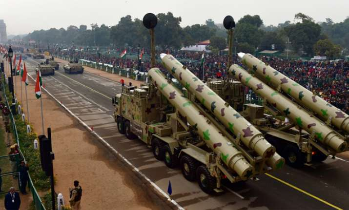 Bhrahmos missile system on display at Rajpath during the