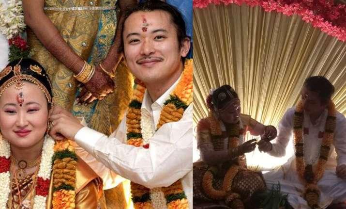 Chiharu Obtata and Yuto Ninaga having a South Indian wedding