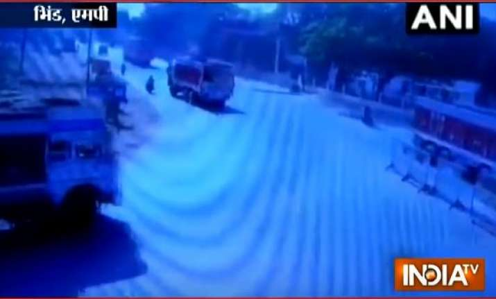 Bhind CCTV Footage Shows How Speeding Truck Deliberately Mowed