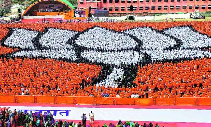 A file photo of BJP's lotus symbol made by party workers