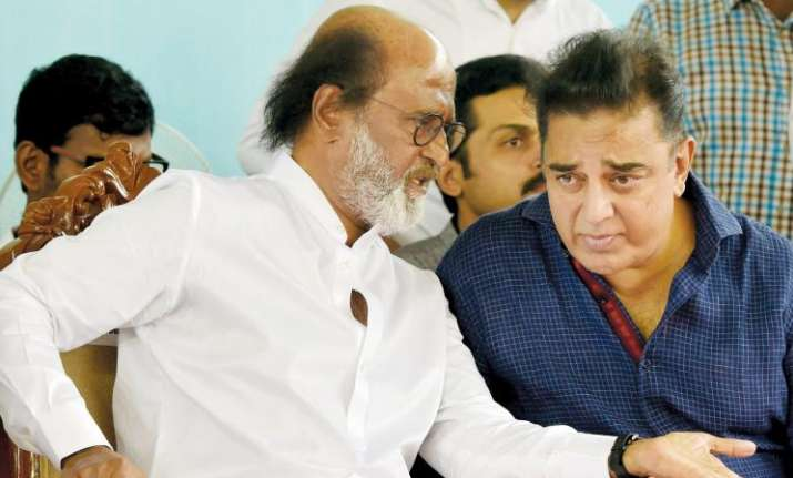 Rajinikanth and Kamal Hassan took part in a protest over