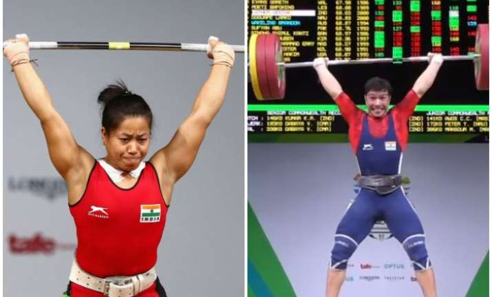 Sanjita Chanu and Deepak Lather performing their lifts on