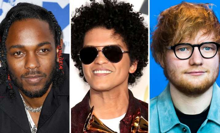 Ed Sheeran,Kendrick Lamar and Bruno Mars win big at