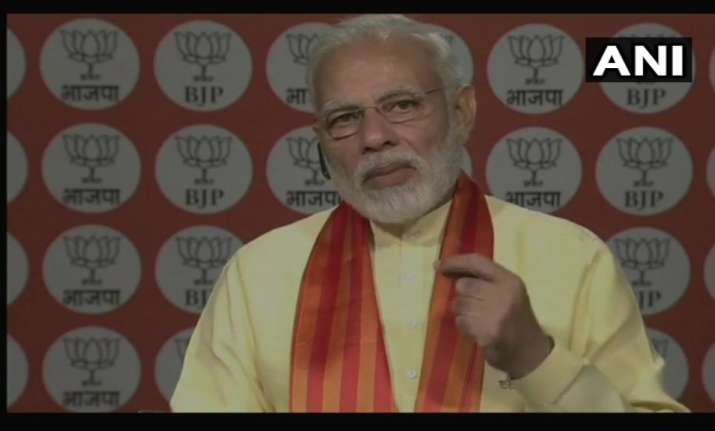 PM Modi addresses Kisan Morcha Karyakartas of BJP through