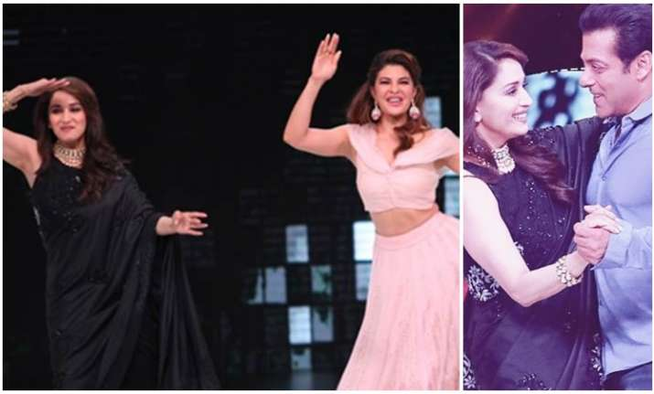 Madhuri Dixit dances with Race 3 stars Salman Khan and