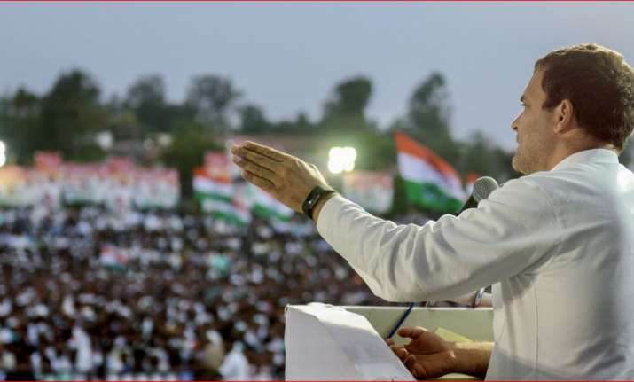 Congress President Rahul Gandhi addresses a corner meeting