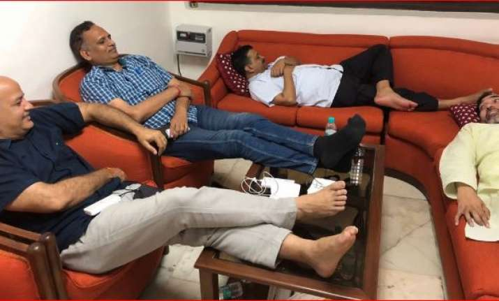 Kejriwal and his ministers staging dharna inside L-G's