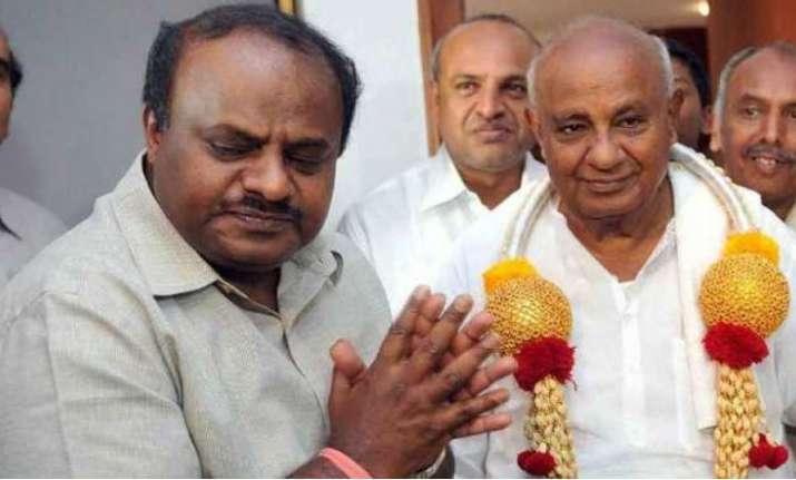 HD Kumaraswamy with father HD Deve Gowda