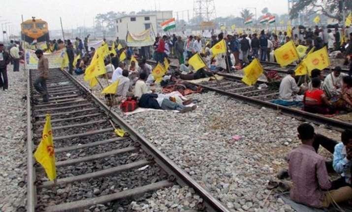 Rail blockade by adivasisin West Bengal