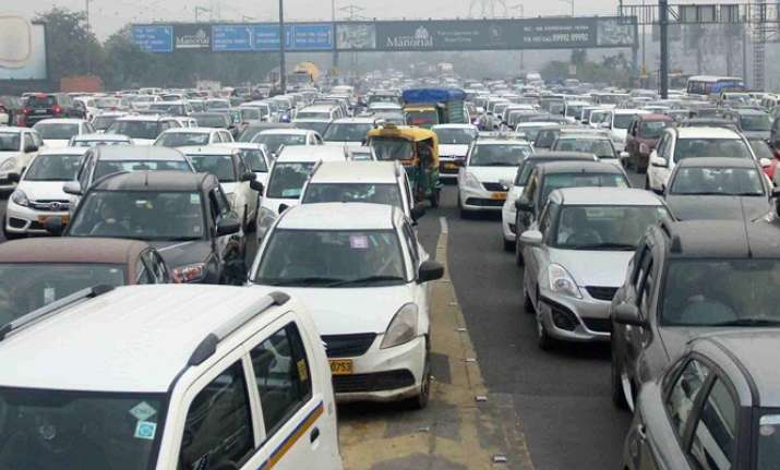 A view of traffic chaos at DND flyover due to a shutdown of