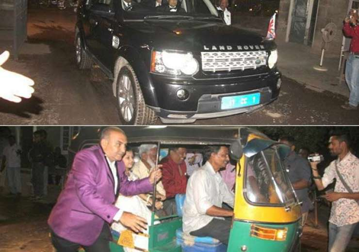 Guests reaching at the wedding reception venue in Land Rover and Auto rickshaw. - India Tv