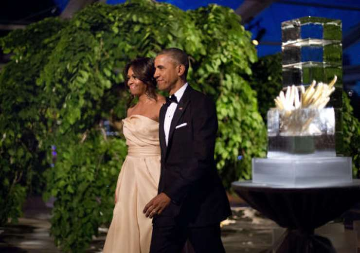 Michelle wore a blush-coloured gown by the New York based designer - India Tv