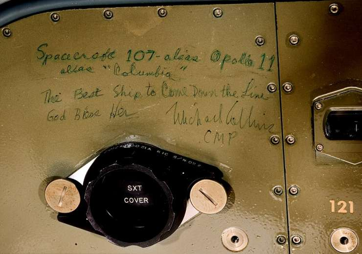 A short note by Michael Collins on one of the equipment bay panels - India Tv