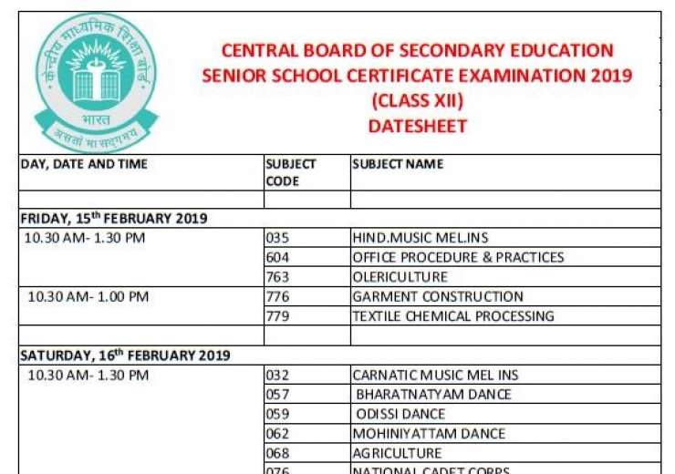 Date sheet for Class 12 CBSE board exams  - India Tv