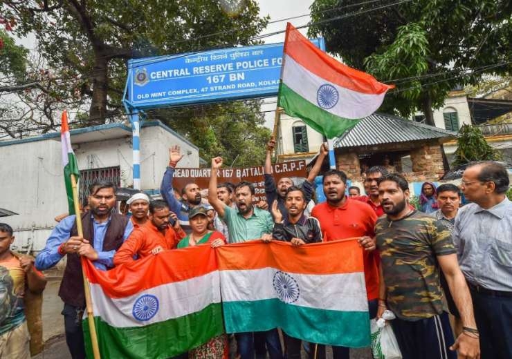 People chant slogans as they celebrate India's major preemptive strike on Jaish-e-Mohammed's camps, - India Tv