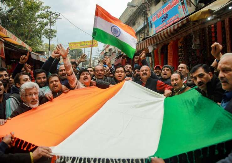 Jammu: People chant slogans as they celebrate India's major preemptive strike on Jaish-e-Mohammed's - India Tv