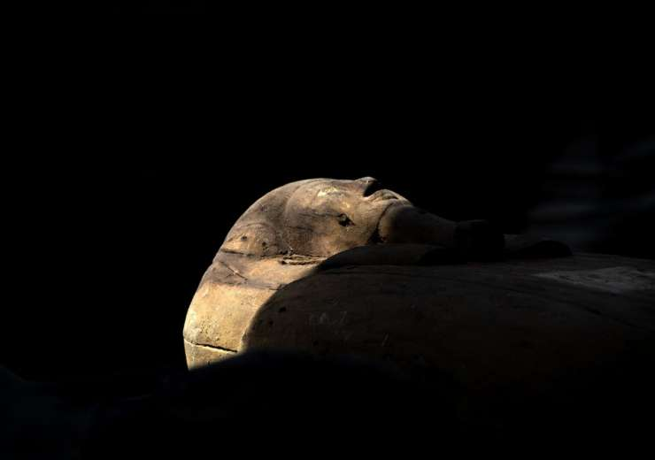 A sarcophagus is shown at the Saqqara archaeological site, 30 kilometers (19 miles) south of Cairo, - India Tv