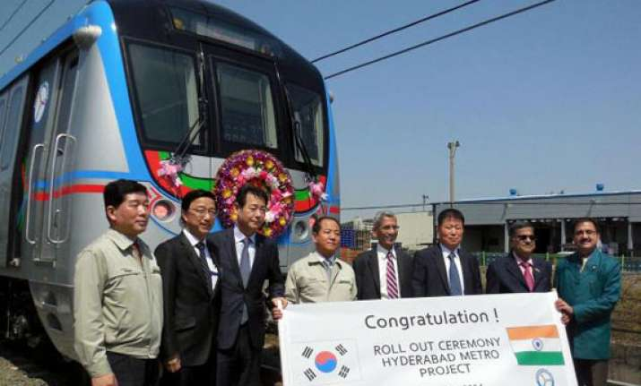 first metro train for hyderabad rolls out of korean factory