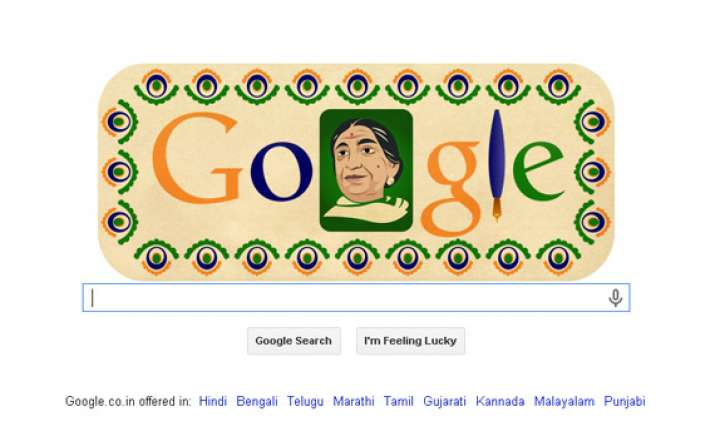 google doodle celebrates sarojini naidu s 135th birthday