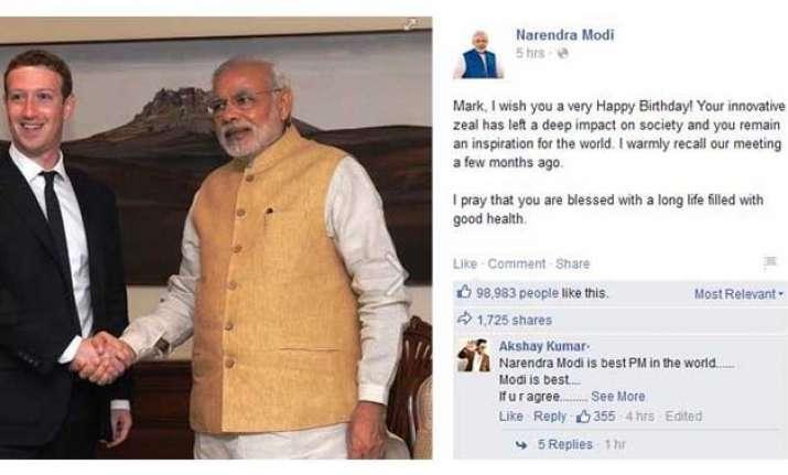 narendra modi wishes mark zuckerberg on his birthday