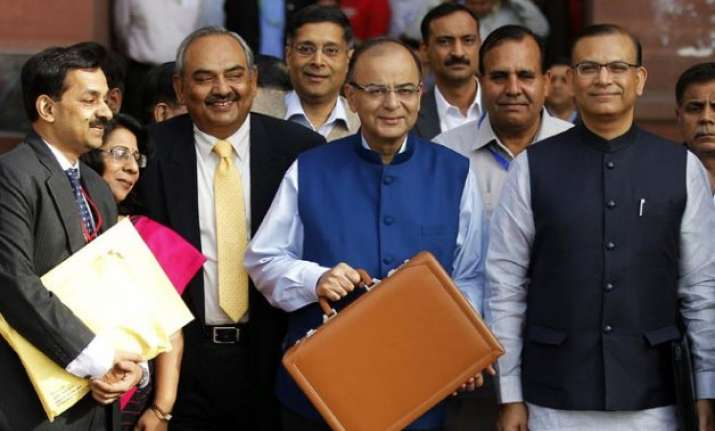 arun jaitley draped budget speech documents in tri colour