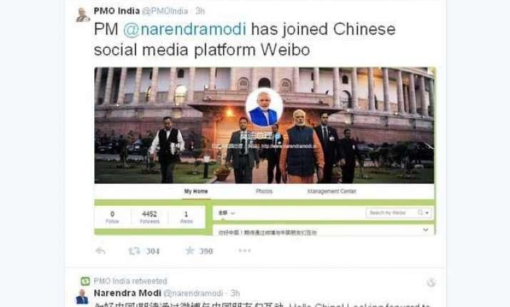 narendra modi scores big hit with weibo account chinese