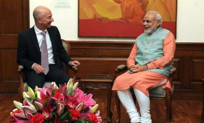 amazon ceo jeff bezos meets pm narendra modi