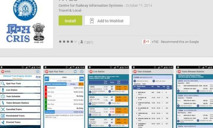 cris launches national train enquiry system app for android