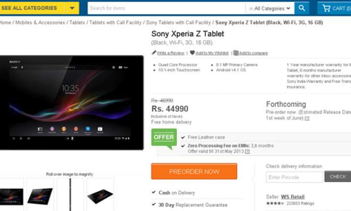 sony xperia tablet z can now be pre ordered in india for rs