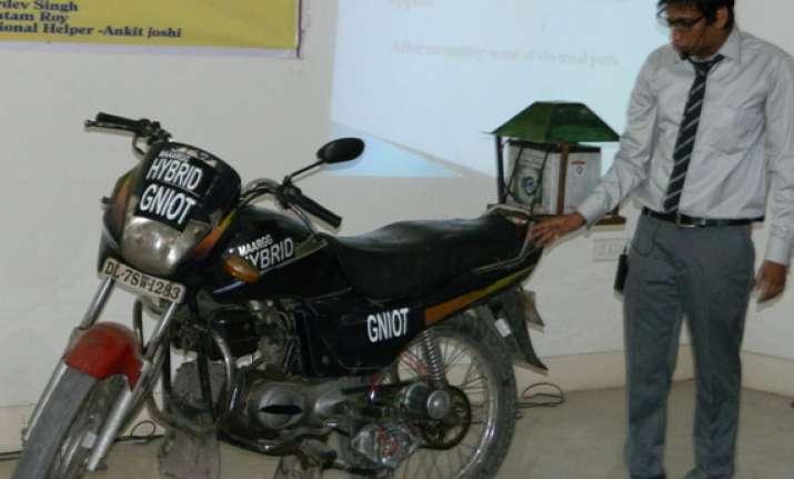 noida students develop a cost saving electric cum fuel bike