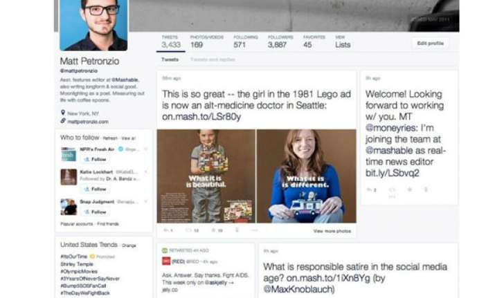 twitter redesigning webpage to give facebook like look