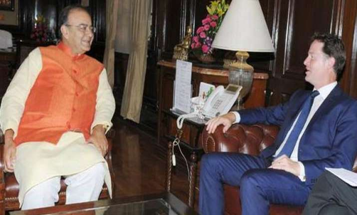 uk deputy prime minister nick clegg meets arun jaitley