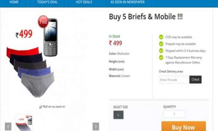 great deal buy 5 briefs rs 499 and get mobile phone free