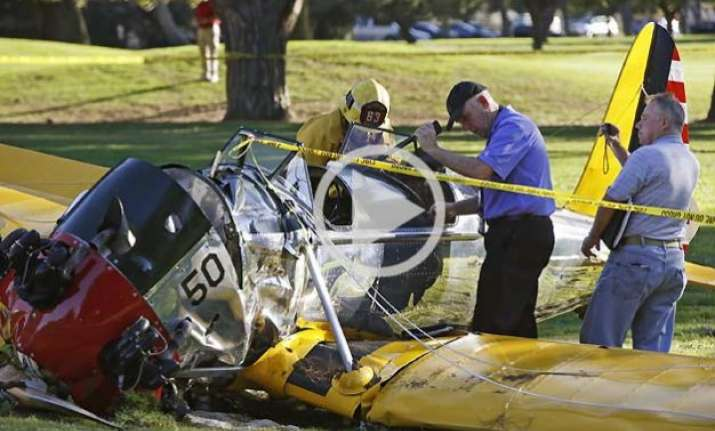 watch video hollywood star harrison ford crash lands his
