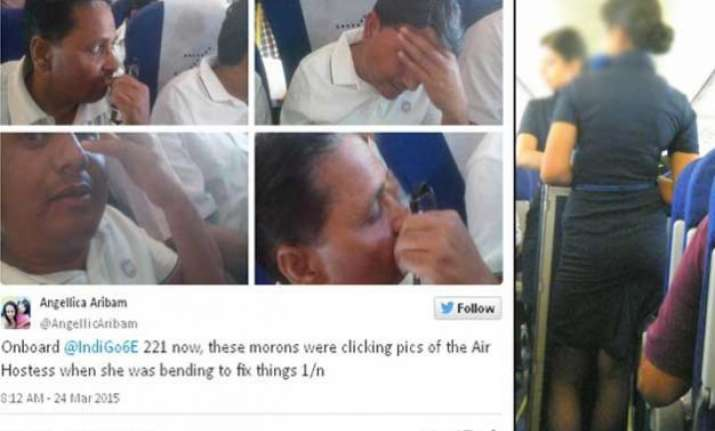 two men caught filming airhostess on indigo airlines pics