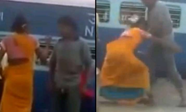 watch the woman showing hardcore wwe skills on the railway