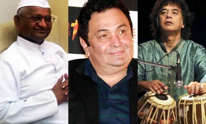 anna hazare rishi kapoor zakir hussain honoured with