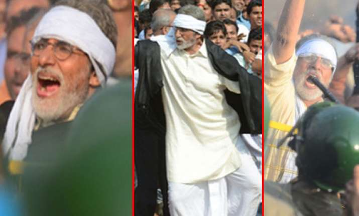 big b s satyagraha faces water cannons and lathi charge