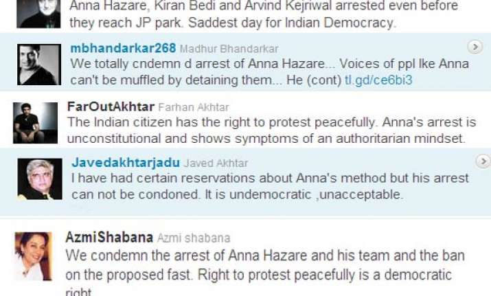 bollywood condemns police action against hazare