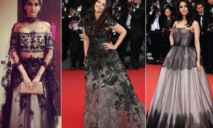 cannes trends sizzling black for bollywood beauties view
