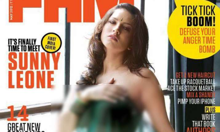 sunny leone in bare dare pose for men s magazine