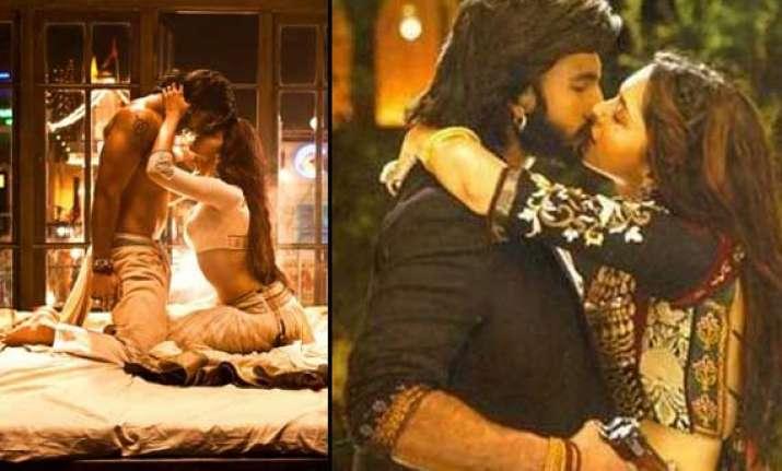 deepika and ranveer share passionate kisses in ram leela