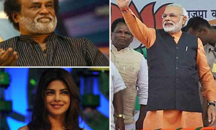 2014 election rajinikanth priyanka farhan abuzz with
