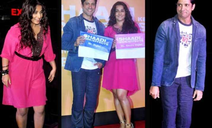 farhan akhtar and vidya balan unveil shaadi ke side effects