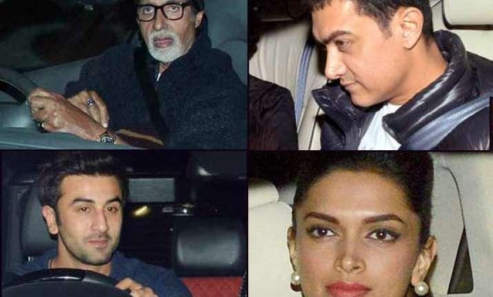gunday special screening big b aamir ranbir and deepika