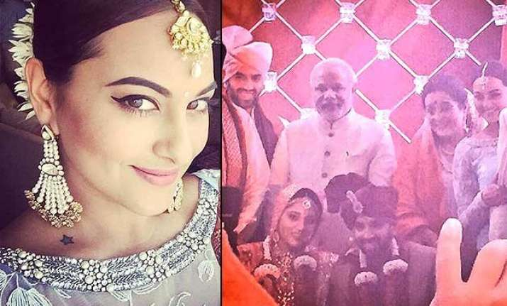 sonakshi sinha s brother gets married pm modi attends the