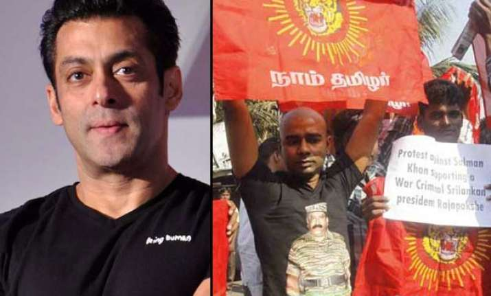 tamilians protest against salman khan for supporting sri